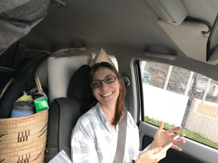 Cheryl in packed car